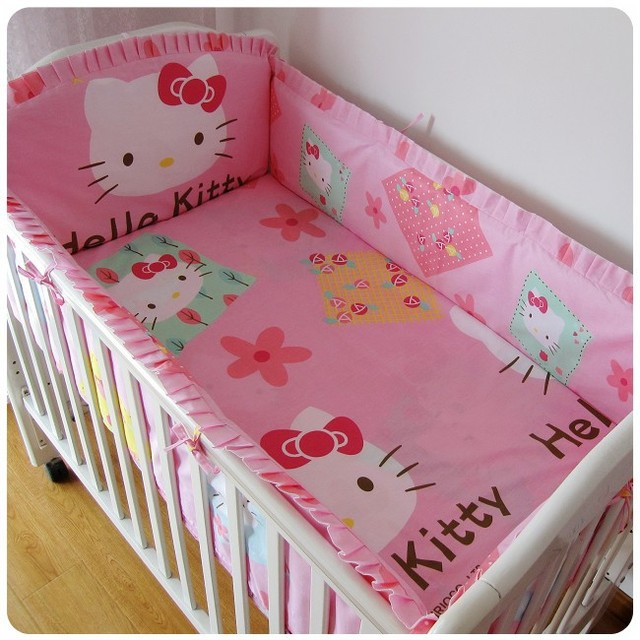 Promotion! 6PCS Hello Kitty Bedclothes For Baby Cribs And Cots 4 Bumpers 1 Sheet (bumpers+sheet+pillow cover)
