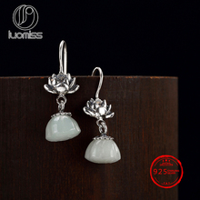 S925 Sterling Silver Thai Silver Lotus Inlaid natural Hetian  white lotus pendant earring wholesale s925 filaments shaolan craft silver inlaid huang yusui pendant in front of blessing silver supply