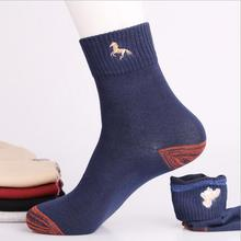 Фотография Wholesale doubling galloping horse design socks high quality split joint casual cotton socks for men 5pairs different color sale