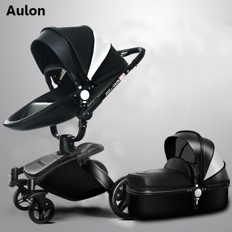 Aulon bébé poussette 2 dans 1 bébé poussette pu en cuir peut s'asseoir et se coucher quatre saisons hiver Russie livraison gratuite