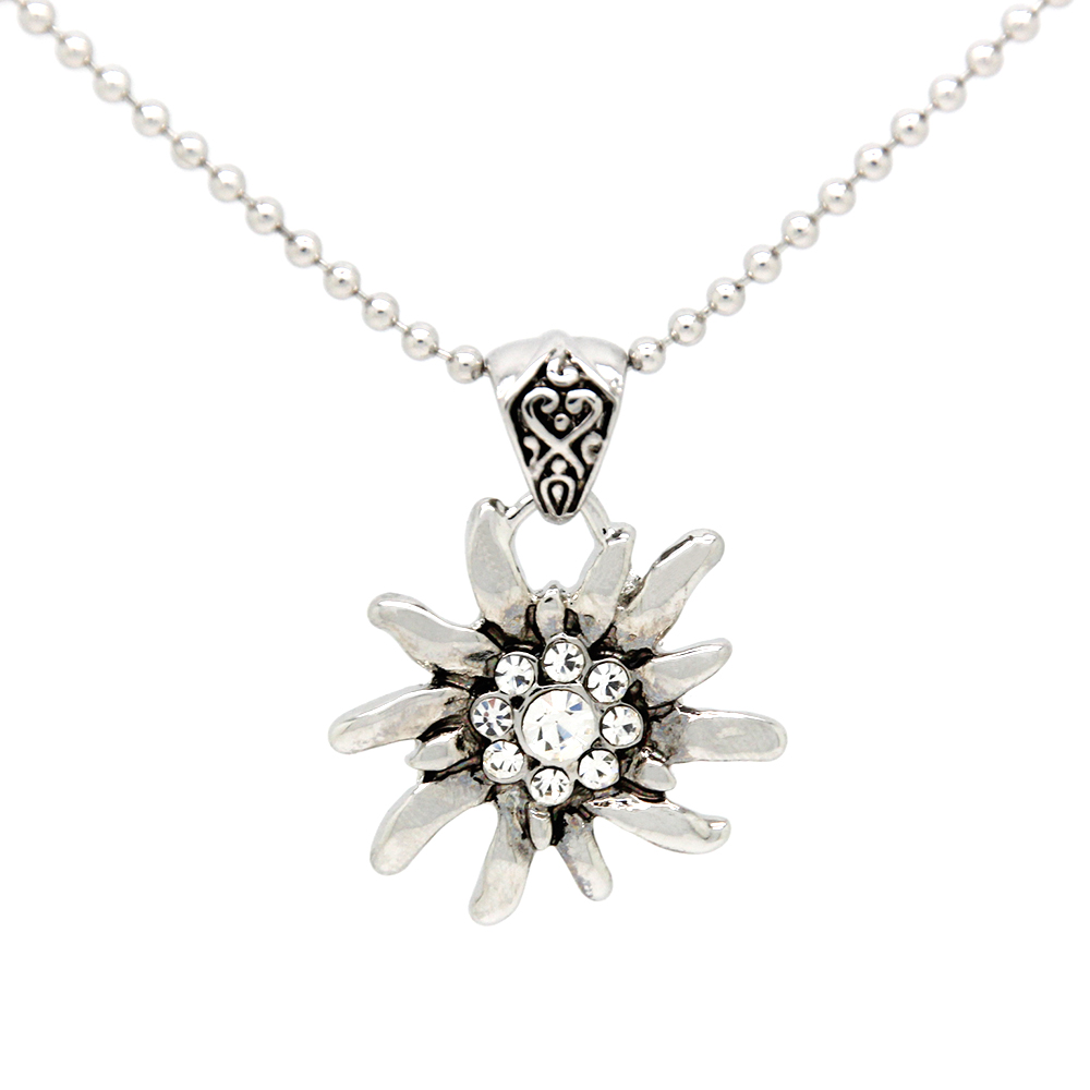 German Drindle Silver Rhinestone Flower Necklaces Oktoberfest Trachten Austrian Edelweiss Necklace for Ladies  FN0039-E