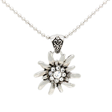 German Drindle Silver Rhinestone Flower Necklaces Oktoberfest Trachten Austrian Edelweiss Necklace for Ladies