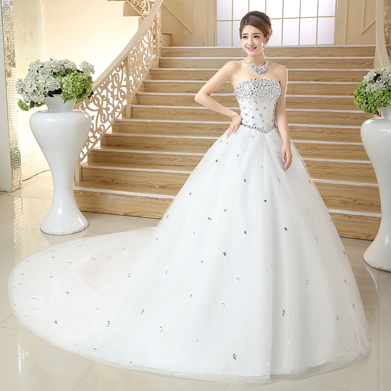 2015 spring new korean wedding dress long trailing bra straps 2015 spring new korean wedding dress long trailing bra straps shaped crystal diamond wedding dress customized for pregnant women in wedding dresses from junglespirit Image collections