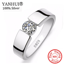 YANHUI Fashion Men's 100% 925 Sterling Silver Ring With S925 Stamp 1 Carat SONA CZ Diamond Engagement Ring RING SIZE 6 -11 YH045 1 ct 925 sterling silver round cut crown sona simulation diamond ring 18k white gold plated ring us size from 4 to 12 jsa