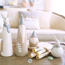 цена на Creative Ceramic Elk Kawaii fairy garden miniatures Cartoon figurines Christmas snowman crafts Room home decoration gifts