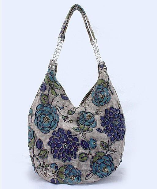 Blue Handmade Shoulder Bag Bolsos Ladies Linen Handbag Evening Bag Shopping Bag Free Shipping 2509-RGBlue Handmade Shoulder Bag Bolsos Ladies Linen Handbag Evening Bag Shopping Bag Free Shipping 2509-RG