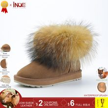INOE kuh wildleder leder real big fox pelz kurze knöchel frauen winter schnee stiefel für frauen winter schuhe schwarz braun nicht-slip sohle(China)