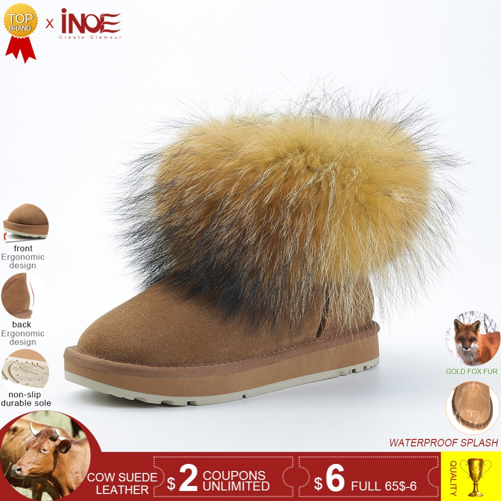 INOE vache daim cuir véritable grande fourrure de renard cheville courte femmes hiver bottes de neige pour femmes chaussures d'hiver noir marron semelle antidérapante