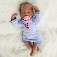 46 см закрытые глаза мягкая силиконовая кукла новорождённого Кукла Реалистичная резьба бутик Новорожденные куклы Reborn Младенцы для девочек