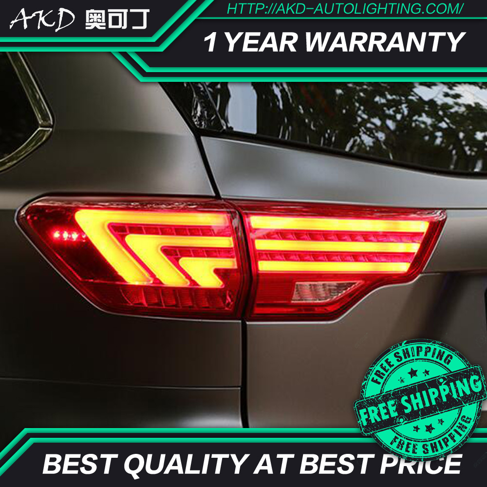 AKD tuning cars Tail lights For Toyota Highlander 2015 Kluger Taillights LED DRL Running lights Fog
