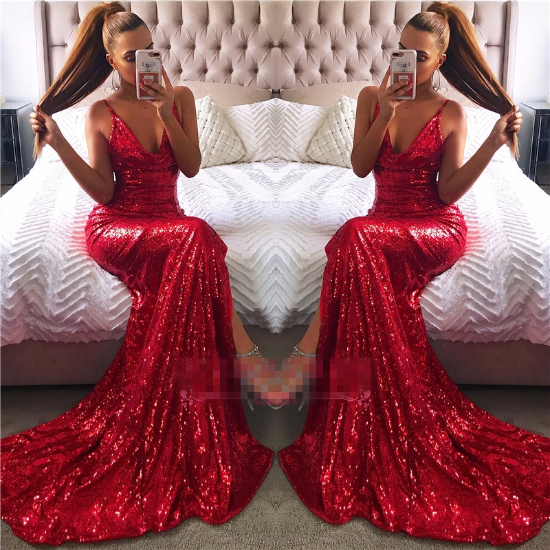 Modest Red Sequin   Prom     Dresses   Long 2019 vestidos de fiesta de noche Mermaid Imported Party   Dress   Special Occasion Gowns