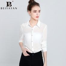 BEIYAYAN Vogue White Shirt Lengthy Sleeve Flip-down Collar Women Workplace Tops 2017 Girls's Summer time Blouses