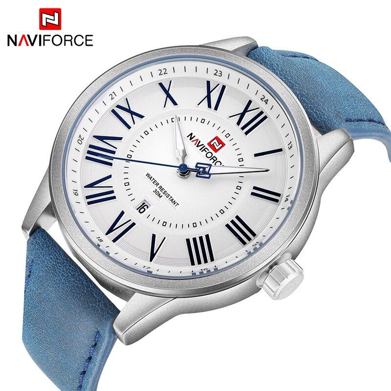 NAVIFORCE Men Quartz Watch Large dial Roman numerals Business Casual Sport Clock Men s Waterproof Wrist