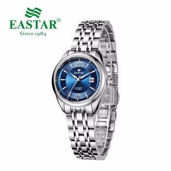 Eastar Blue Automatic Mechanical Watch Women Business Stainless Steel Brand Calendar 30M Waterproof Wrist Watch Silver Clock