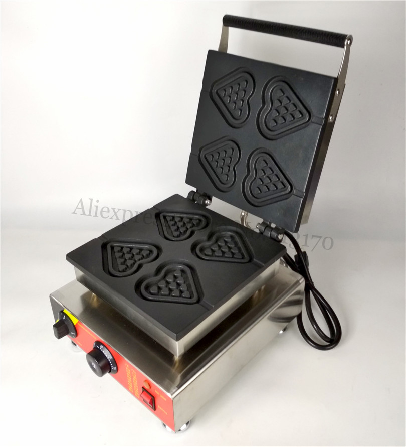 Commercial Heart Shape Lolly Waffle Machine Stainless Steel Heart Waffle Maker 220V 110V 4pcs in one tray commercial heart shape egg waffle maker 110v