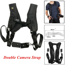 Pro Durable Double Dual Shoulder Strap Belt Sling camera strap For 2 Digital DSLR SLR Camera focus f 1 quick rapid carry speed soft pro shoulder sling belt neck strap for camera slr dslr black free shipping