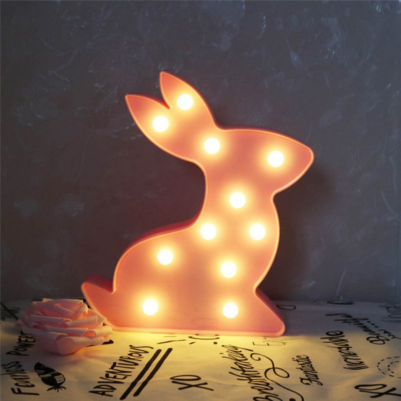 Rabbit LED Night Light For Children Baby Kids Bedside Lamp White Battery Opeed Nightlight