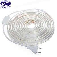 5050 Flexible LED Strip light AC220V 60leds/m Waterproof IP67 Led Tape LED Light With EU Power Plug 1M/2M/3M/8M/9M/10M/20M
