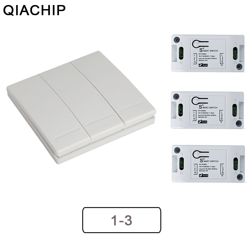 QIACHIP Wifi Wireless 433Mhz RF Relay Receiver Smart Home Module Lights Switch + Wall Remote Control Switch For Lamps Fans DIY