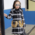 Children Girls Trench Coat New Design 2016 Fashion Plaid Cotton Woolen Hooded Kids Clothes Casual Fur Pocket Baby Jacket Outwear