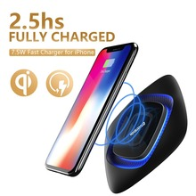 Phone X Wireless Charger Pad, Wofalo 7.5W Quick Wireless Charging Mat With LED Light for iPhone 8/8 Plus Only, Black