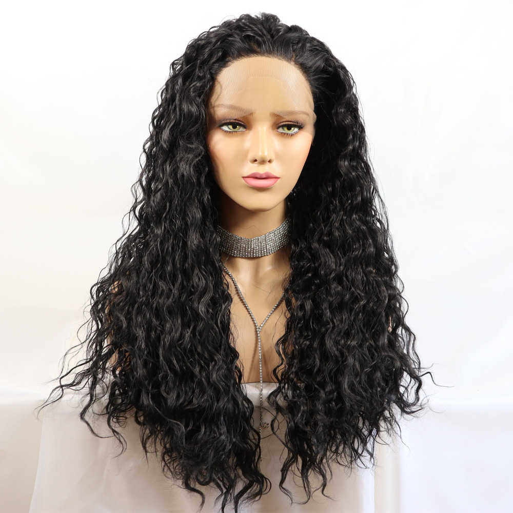 Marquesha Black Loose Curly Synthetic Lace Front Wig Natural Looking Heat Resistant Fiber Water Wave Wigs For Women
