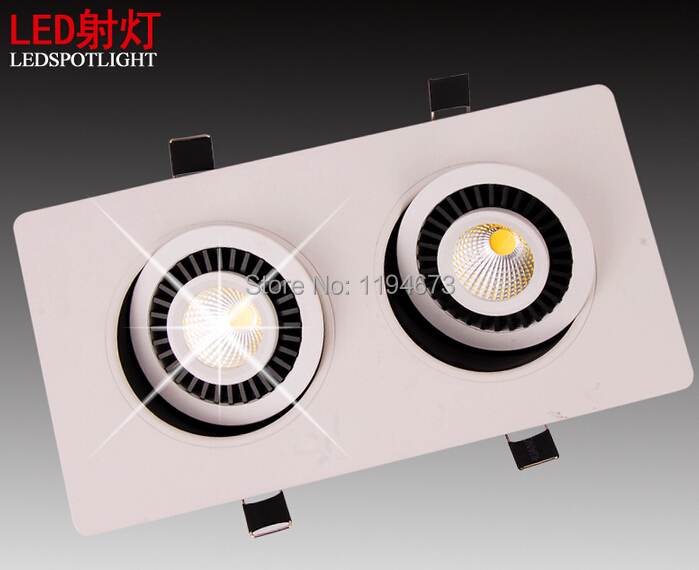 ФОТО Free Shipping 10W*2/20W double heads COB square rotatable gimbal led downlight recessed ceiling panel light 85-265V 8pcs/lot