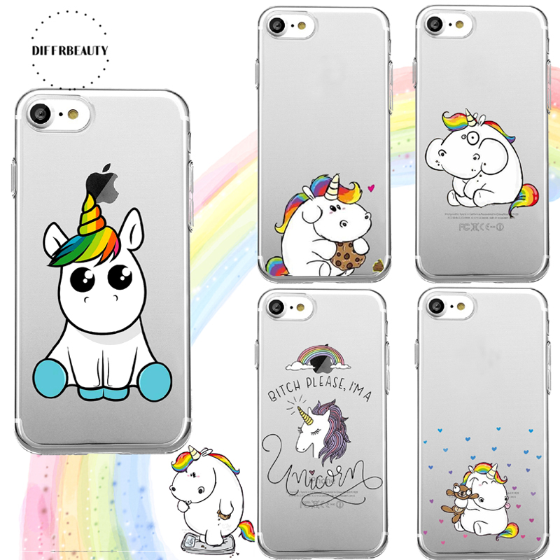 DIFFRBEAUTY New Lovely Cartoon Rainbow Unicorn Movement Silicone Soft TPU Phone Case For iPhone 6 6Plus 5S 7 7 Plus iPhone 8 X