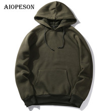AIOPESON Autumn Winter New Mens Hoodies Fashion Slim Solid Color Hooded Hoodies Male Long Sleeve Sweatshirt Hoody Outwear S-XXL