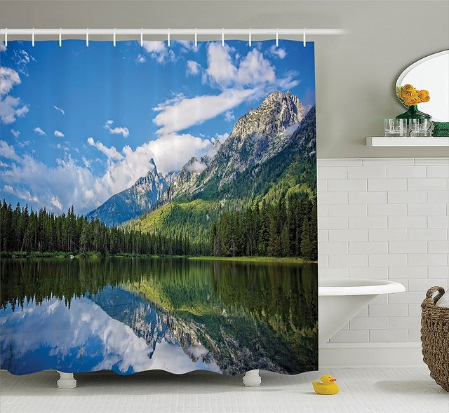 Landscape Shower Curtain Pure Mountain Lake Scenery With Trees And Cloudy Sky Nature Inspired Print Blue