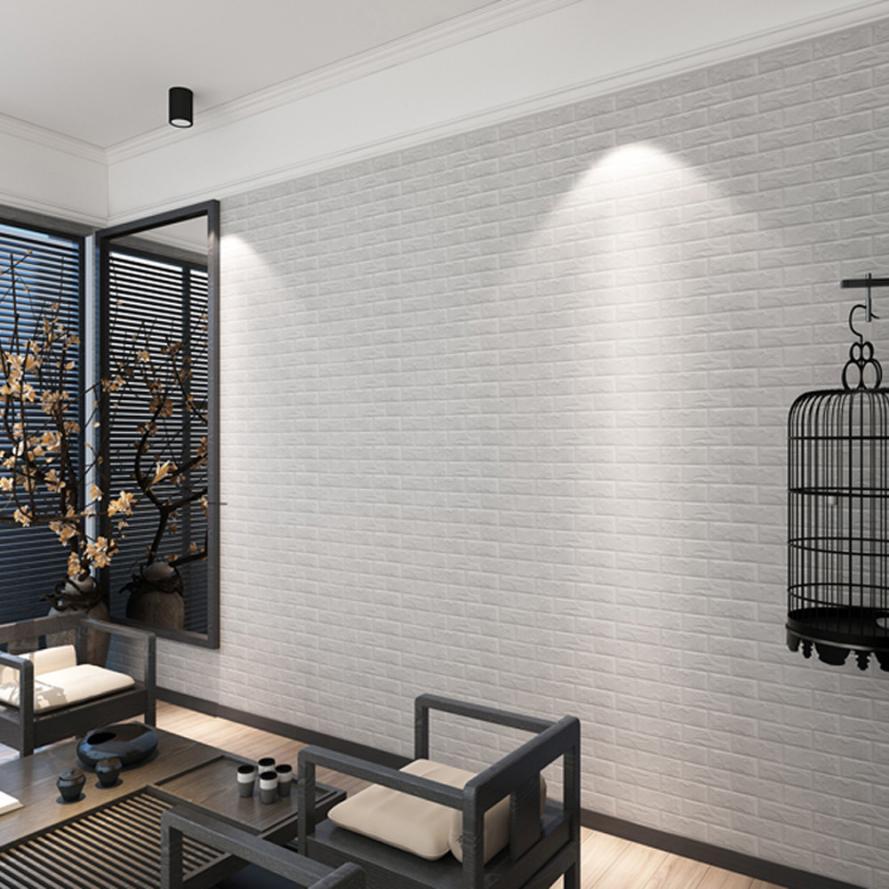 Neue PE Schaum 3D Wallpaper DIY Wandaufkleber Dekor Geprägte Ziegel ...
