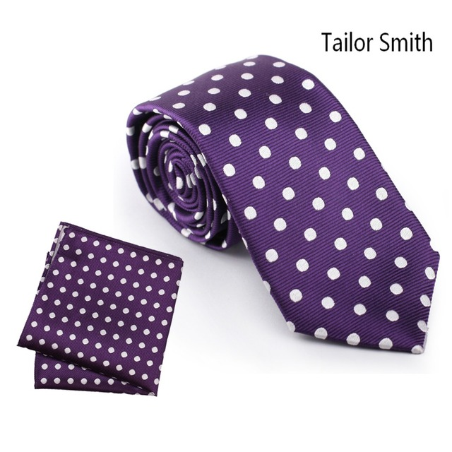 Tailor Smith Handkerchief 100% Natural Silk Woven Polka Dot Purple Necktie Hanky Set Formal Classical Business Wedding Suit