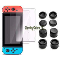 8Pcs Silicone Gel Thumb Stick Grip Joystick Cap Cover 2pcs Tempered Glass Screen Protector Film For
