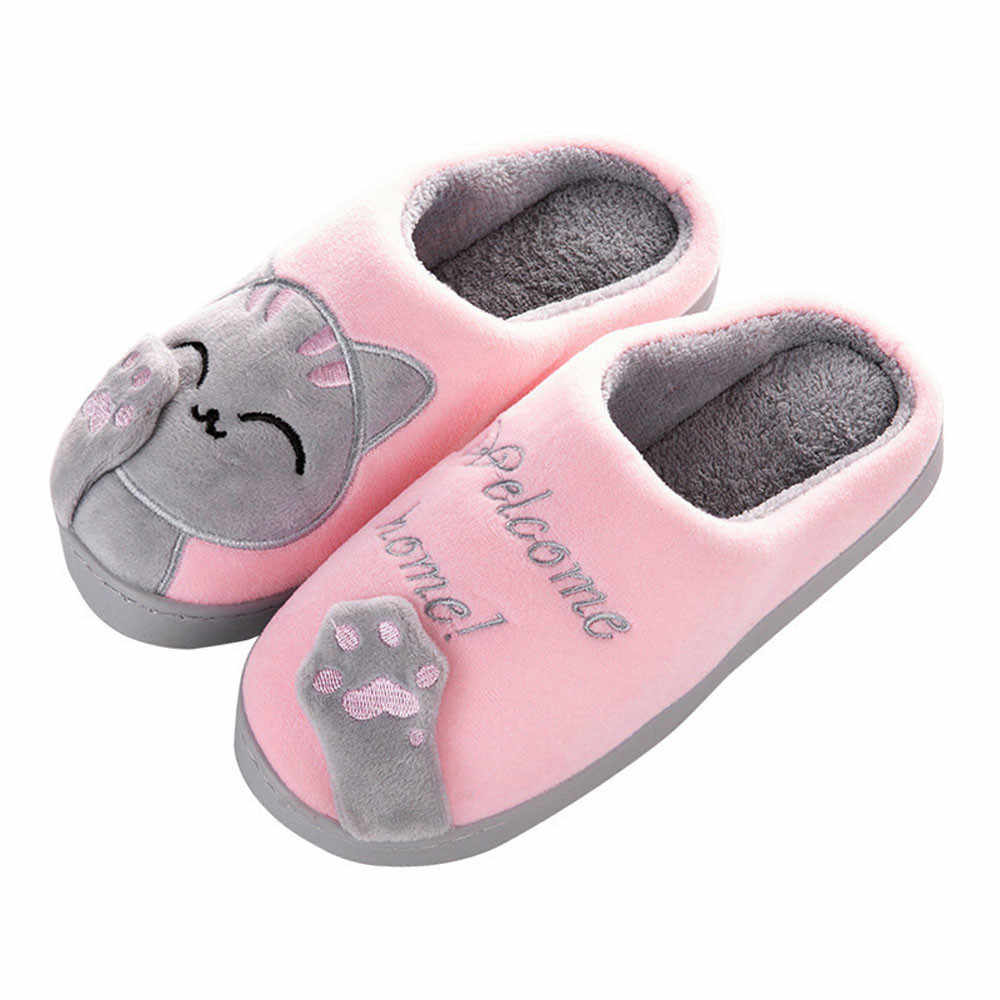 SAGACE Women Winter Home Slippers Cartoon Cat Shoes Non-slip Soft Winter Warm House Indoor Bedroom Lovers Couples Floor Shoes