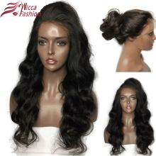 Wicca Fashion Glueless Lace Front Paryk För Svarta Kvinnor Body Wave Brazilian Remy 100% Human Hair Pre Plucked Hairline