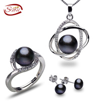 SNH 8 9mm button black color AAA 925silver natural real freshwater pearl set black pearls