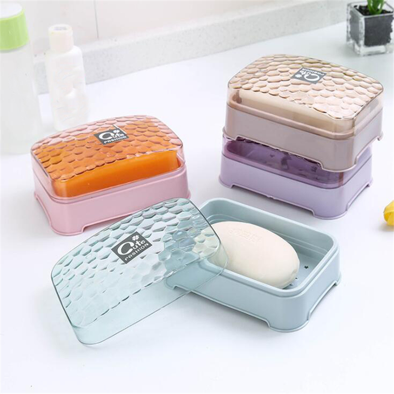 Multicolor Bathroom Soap Box Case Holder Container Bathroom Dish Plate Case Home Bathroom Shower Travel Camping Soap Holder Dish