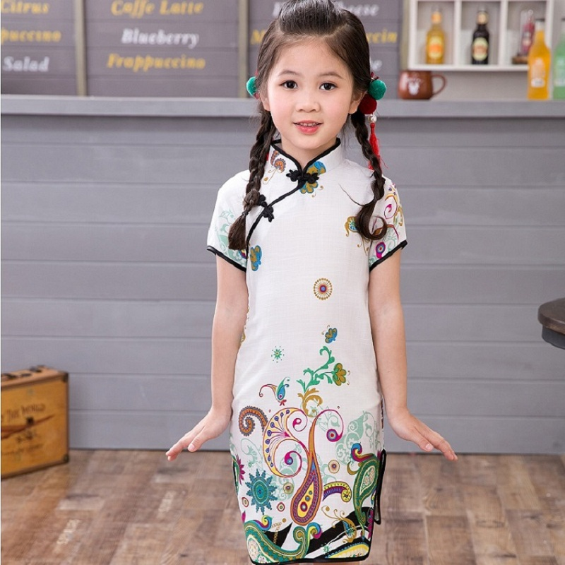 Floral Baby Girls Dress Chinese Traditional Children Chipao Dresses For Girl Cheongsam Cotton Linen Clothes Kids Vestidos Tops in Dresses from Mother Kids