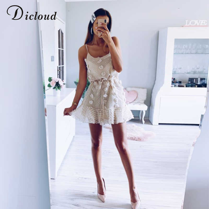 DICLOUD seksowny Spaghetti pasek Ruffles kobiety letnia sukienka Boho beżowy Backless podszewka Party letnia sukienka plażowa elegancka Streetwear