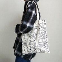 Прочные парусиновые сумки для покупок, Простой лаконичный стиль, ручная сумка на одно плечо на молнии с мультяшным дизайном, размер 34 X39cm