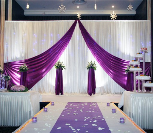 10ft 20ft White Purple Wedding Backdrop Curtain T Stage