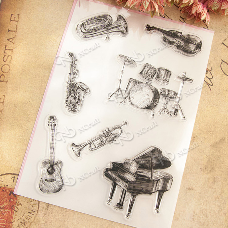 High quality  Musical instruments  DIY Scrapbooking Stamp transparent silicone seal clear stamp for wedding gift T0069 lovely animals and ballon design transparent clear silicone stamp for diy scrapbooking photo album clear stamp cl 278