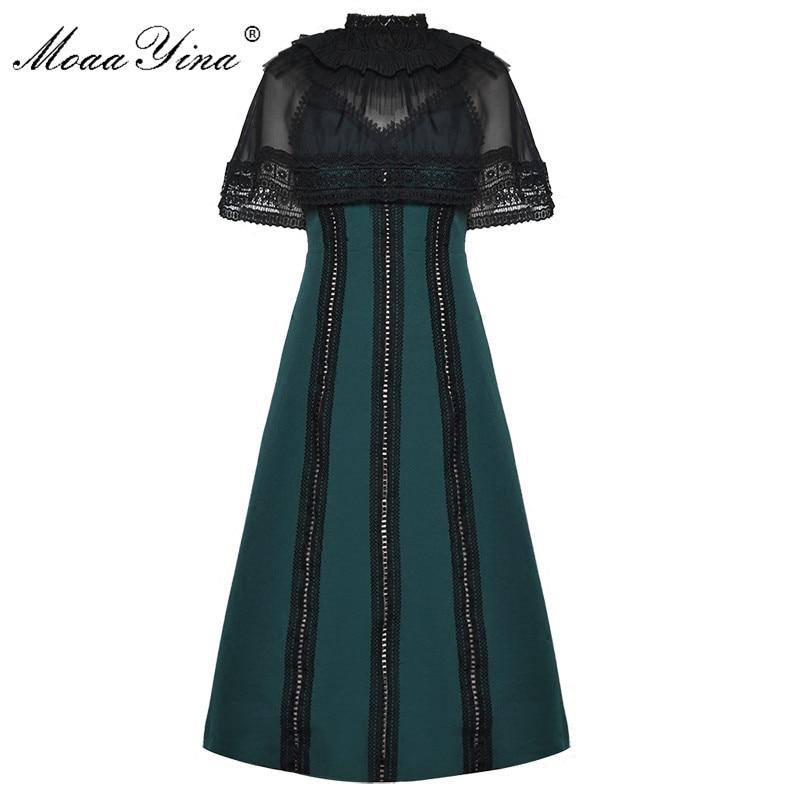 MoaaYina 2018 Designer Runway Dress Summer Women Voile Cloak Sleeves Stand collar Lace Stripe Noble Elegant Vintage Slim Dress