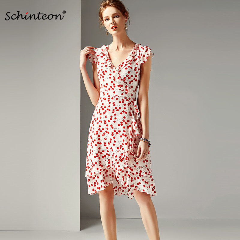 2019 Summer 100 Real Silk Cherry Print Dress V Neck Sweet Dress Sleeveless A Line Slim