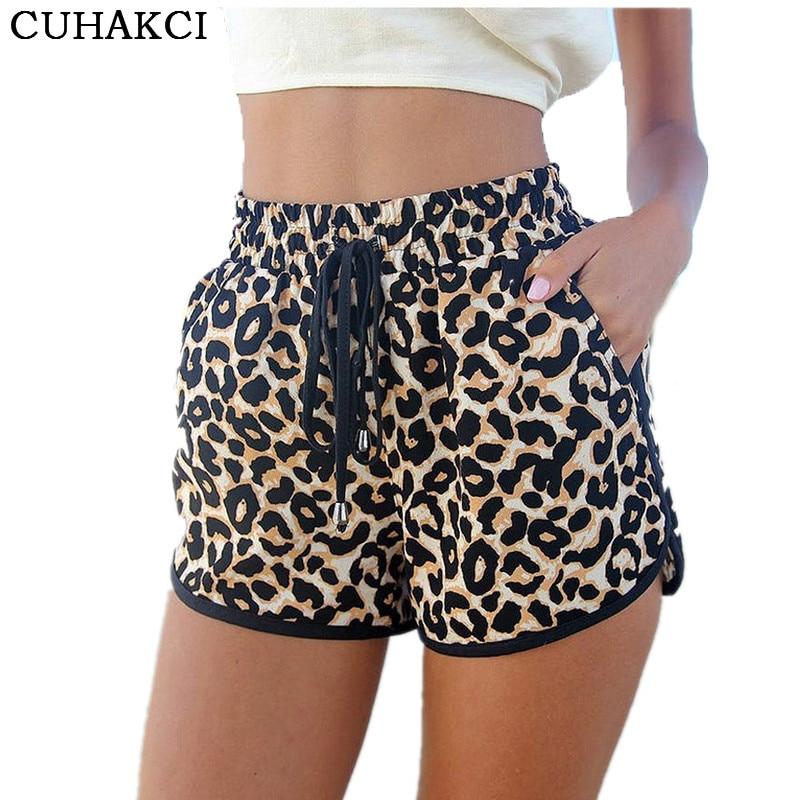 Women Summer Casual Leopard Printed Shorts Plus Size S-XL Women's Shorts Casual Short Pants