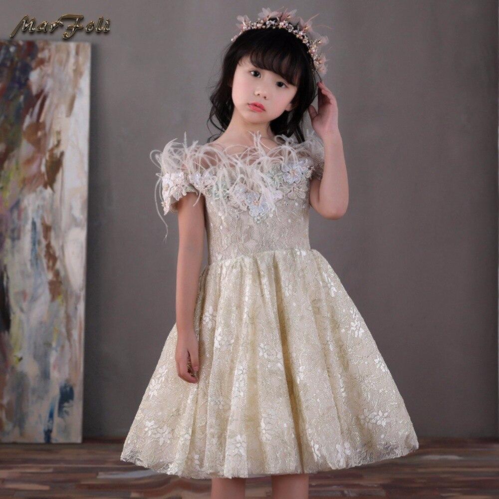 Marfoli Flower Girl Dress Pink Rose Wedding Pageant Kids Boutique 2017 Summer Princess Party Dresses Clothes ZT0066 marfoli girl princess dress birthday