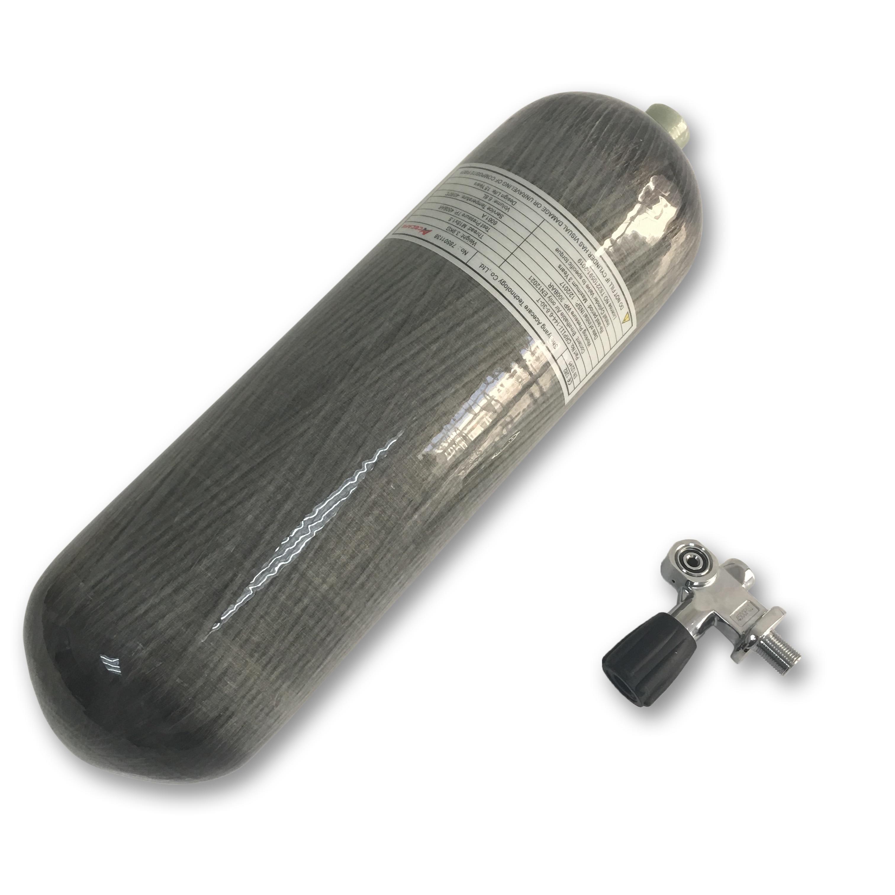 AC168301 Pcp Air Gun 6.8L Paintball Rifle 3Ac36851 Air Rifle Tank Hpa 300Bar Thread M18*1.5 Carbon Fiber Air Tank With  Valve