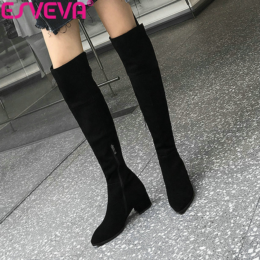 ESVEVA 2019 Short Plush Shoes Women Zip Over The Knee Boots Cow Suede Square High Heels Autumn Boots for Woman Elegant 34-39 esveva 2018 boots square heels short plush women boots high heels round toe elegant over the knee boots ladies shoes size 34 39