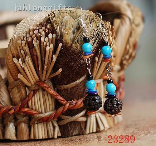 Wholesale Handmade Tibetan Carved Ox Bone Bead & Blue Turquoise Earring Pendant Charming Jewellery 50pairs Mixed Lot Free Ship