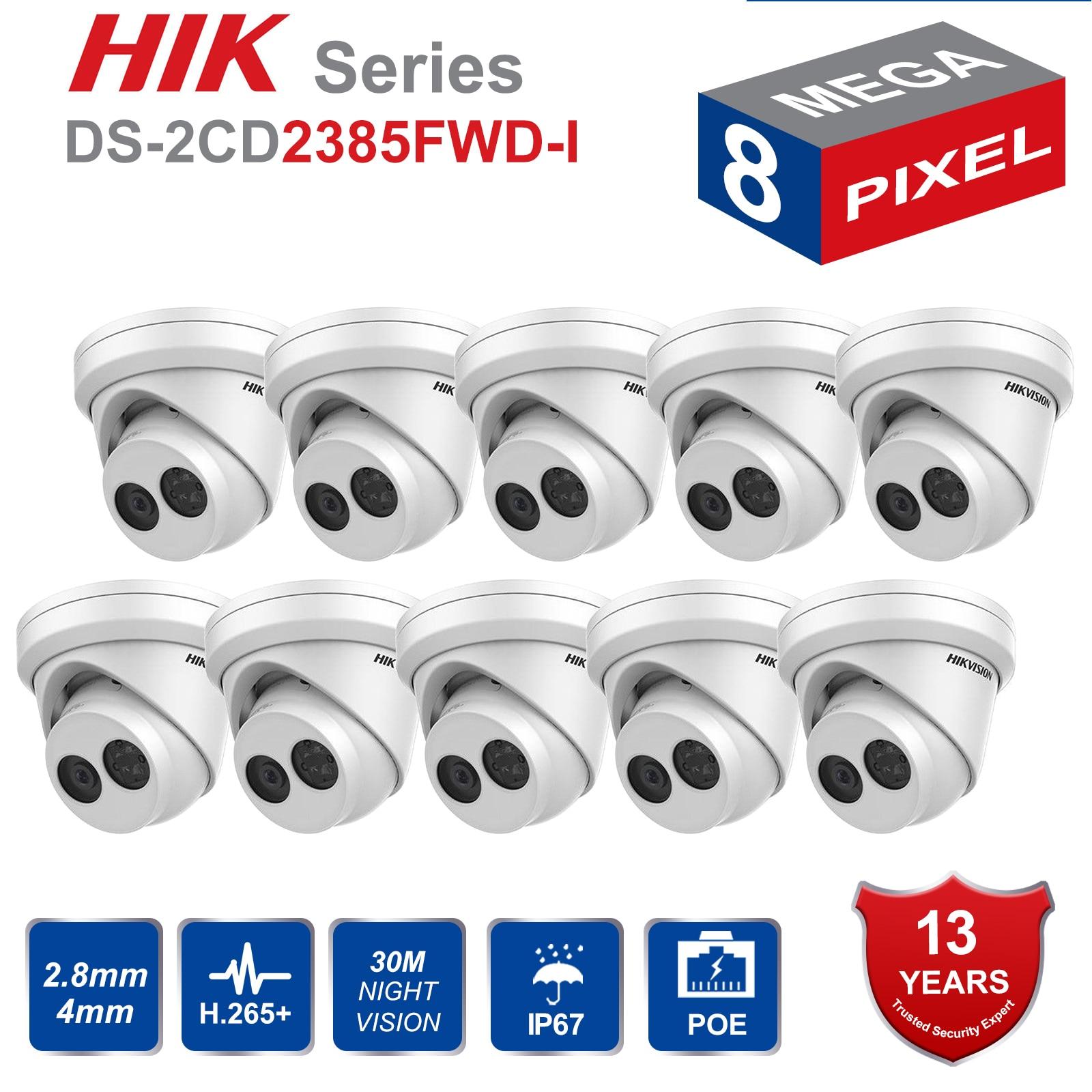 Hikvision caméra IP d'origine DS-2CD2385FWD-I 8MP réseau tourelle caméra POE IR H.265 + 8mp caméra WDR H265 IP caméra CCTV 10 pièces